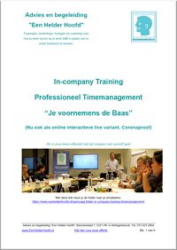 in-company training folder brochure professioneel timemanagement