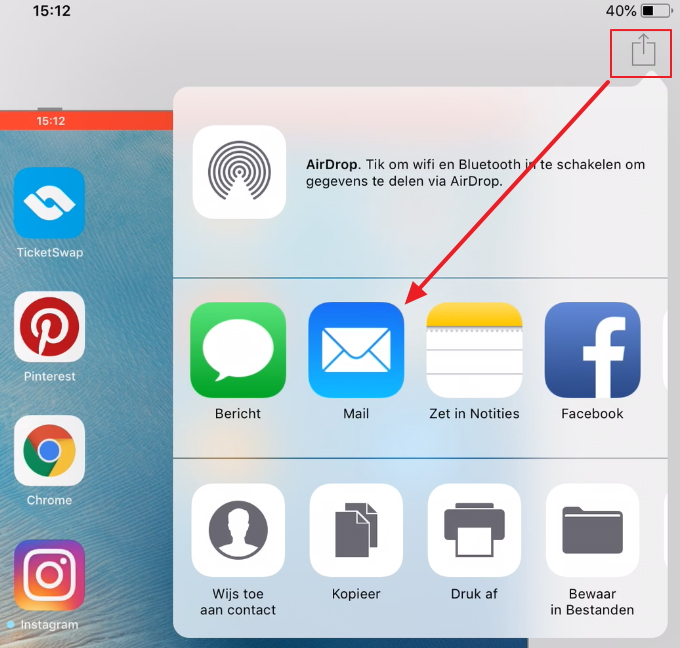 Ipad schermafdruk mailen
