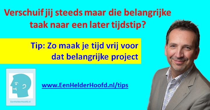 Tijdmaken belangrijke project tip